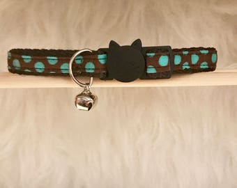 "Brown Polka Dot Cat Collar- ""Chocodot""- Breakaway Cat Collar / Kitten Collar"