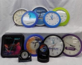 Lot Vintage Pharmaceutical Advertising Clocks Viagra Miralax Prevacid More a, Vintage Wall Clock, Pharmaceutical Clocks, Collectible