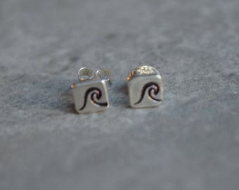 wave sterling silver stud earrings