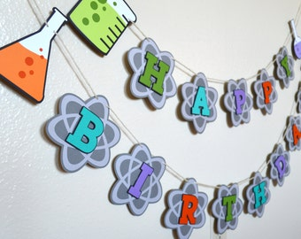 Happy Birthday Banner | Photo Shoot Prop | Party Decor | Mad Scientist Theme | Science Chemistry Theme