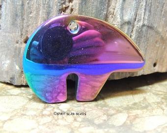 Zuni Bear RAINBOW HEMALYKE Focal Pendant bead  35 x 25 mm Hematite Hemalyke