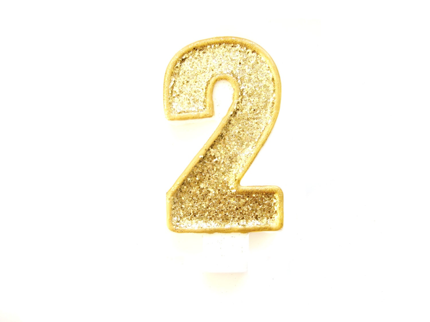 Giant Gold Glitter Number 2 Birthday Candle Birthday