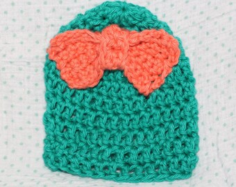 Newborn Teal and Coral hat