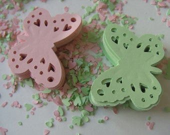 100, soft green, soft pink, Paper butterflies, wedding confetti, scrap booking, paper craft, card making, by DoodleDee2