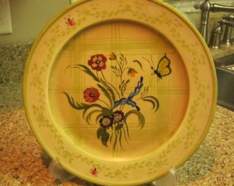 Jane Keltner Hand Painted Butterfly Plaid Decorative Plate Great Ideas