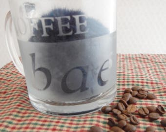 """COFFEE bae"""" Libbey Etched Clear Glass Mug- Can be personalized"""