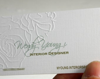 200 Business Cards - ink press embossing - 16PT heavy linen stock -  custom printed