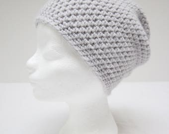 Light grey handmade crochet beanie