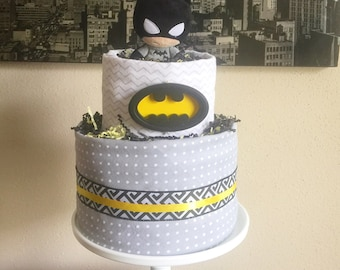 Tiered Gender Neutral Batman Diaper Cake, Batman Centerpeice, Yellow and Black Baby Shower Decor, Hospital Gift