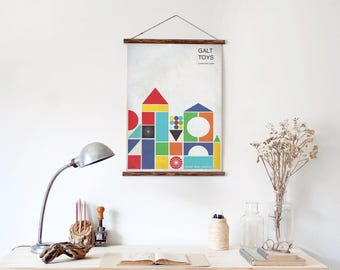 Never Stop Playing - Retro Building Blocks Geometric Art Print for Big Kids