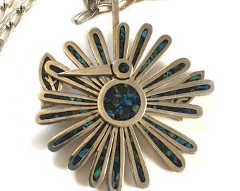 Tono Cecelia Taxco Pendant Mexican 925 Sterling Silver Modernist Peacock Mechanical Pendant