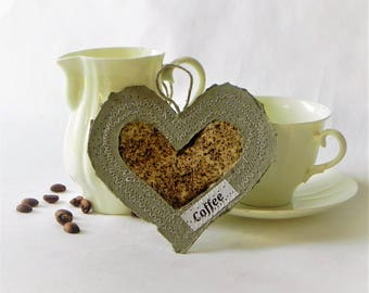 Coffee lover heart greeting card handmade  paper tag ornament coffee gift card - I love coffee