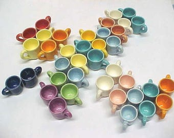 Miniature Pottery Tiny Tea Cups Collectors or Fairy Gardens Hand Turned Mini Mugs Choose Yellow, Peach, Sage, Pink, Baby Blue, Cobalt Blue