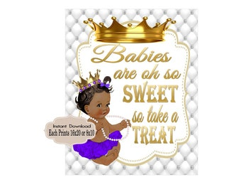 DIGITAL FILE Royal Purple and Gold  Baby Candy Table, Princess Baby Shower,  Royal Baby Shower Decor, Babies are Sweet RP-009