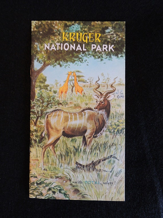 1960s Fold Out Map / Brochure By Total Oil For Kruger National Park South Africa