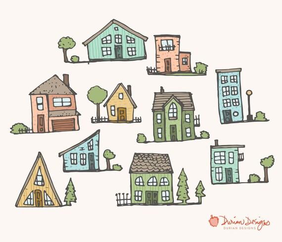 Niedliche Häuser Clipart kommerziellen nutzen Häuser in