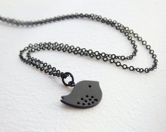 SALE - Little Black Bird Necklace - Minimalist Necklace