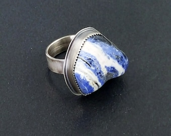 Sodalite Ring, boho, bohemian, blue white silver, size 7.75 ring, sterling silver, michele grady, statement ring, rock ring, sodalite