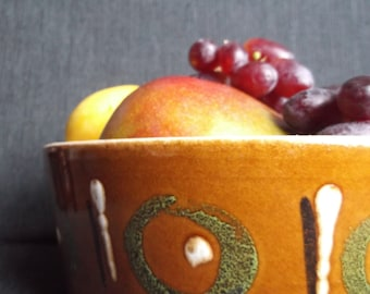 vintage ceramic retro fruit bowl fat lava detail