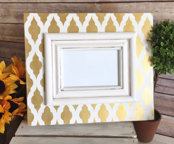 Distressed Frame with Gold Moroccan Drop Trellis Pattern and Cream ...