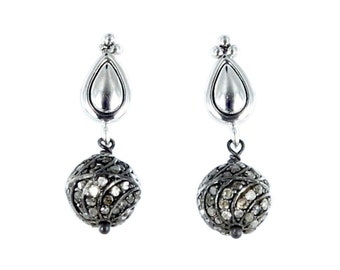 PAVE DIAMOND EARRINGS Sterling Silver 9mm New World Gems