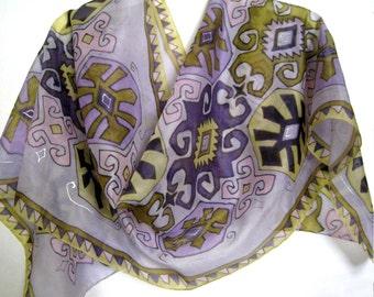 Hand Painted Silk Scarf Armenian Carpet
