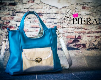 leather handbag, teal handbag, silver leather handbag, leather satchel bag, blue bag, blue leather bag
