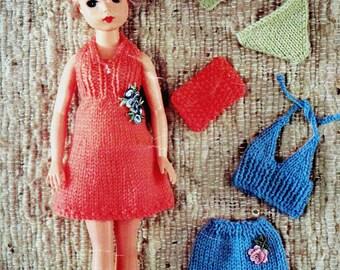 Vintage Knitting Pattern - Swing bikini set for Barbie - Knitting dress holiday outfit - Dolls Bikini Set :DB090/PDF-Instant Download.
