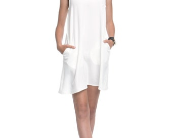 MOTHERS DAY GIFT, White tank Dress, Sleeveless Dress, Summer Dress with pockets - Marian, Gift For Mom, Sister Gift, Gift For Her