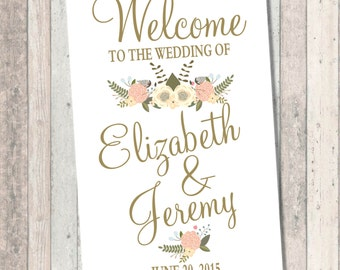 Wedding Welcome Sign - Gold Font - peach and blue flowers