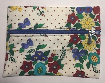 Cotton Zipper pouch.  Free Shipping
