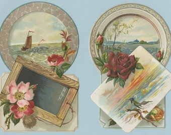 Two Original Chromolithographic Die Cut Cards with Nature Scenes