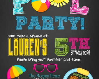 Pool Party Invitations, summer party invitations, Pool party Birthday Printable Invitations, kids Pool Party Invitation, Pool party invite