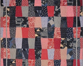 Patchwork Quilt - navy blue and red Japanese Trapezoids