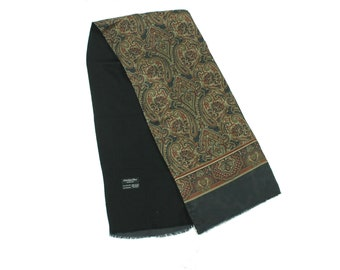 80s Christian Dior Silk Scarf Brown Paisley Vintage 1980s Neck Tie Necktie