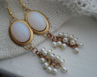 Vintage White Moonstone Opal Czech Glass Statement Earrings Cascading White Pearls