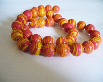 Synthetic Round Beads Orange Stripe 10MM
