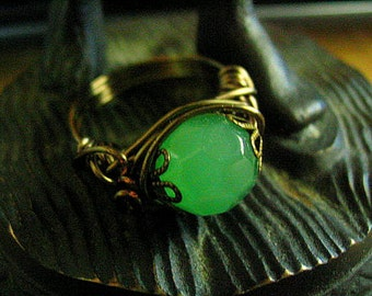 Green  Medieval Renaissance style Ring Choose Your Size