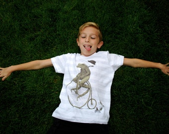 Childrens Frog Shirt - Kids Tee - Frog Bike Art - Animal Design