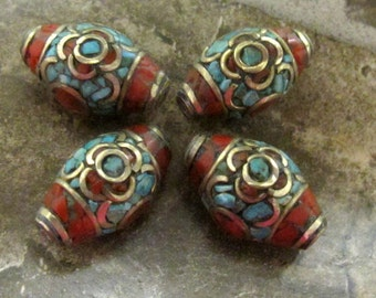 4 beads - Large rice shape nepal bead with turquoise coral inlay - BD279