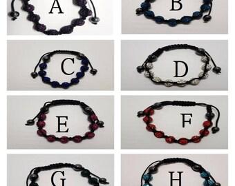 shamballa style discoball adjustable bracelet, choice of colour