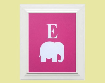 Custom Personalized Pink White Elephant Picture, Letter/Monogram Picture, Children's Wall Art, Kid's Wall Art