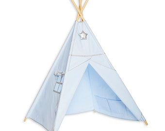 Teepee Tent - Silver Blue