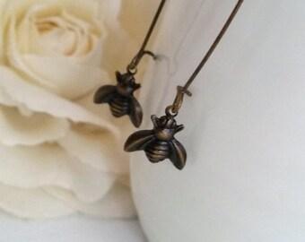 Antiqued Brass Bee Earrings. Honey Bee Long Dangle Earrings. Spring Summer Woodlands Inspired Nickel Free Lead Free Earwire Bee Jewelry