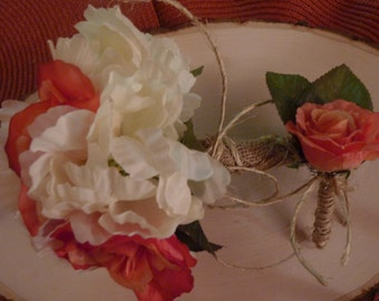 Rustic handmade wedding bouquet with matching boutonniere~Lovely~Romantic~
