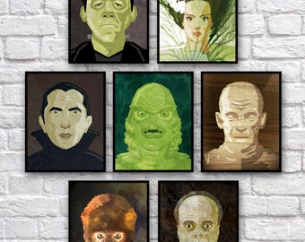 "Monsters Vect-o-Grunge 8x10"" Digital Prints (set of 7)"