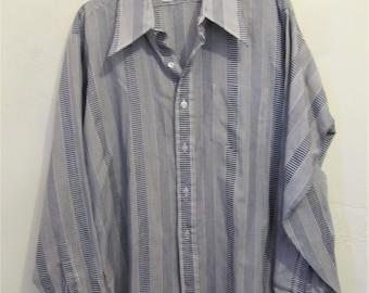 A Men's Vintage 70's,Long Sleeve,STRIPED Panel DISC0 era Shirt By MICHEL DANIEL.xl