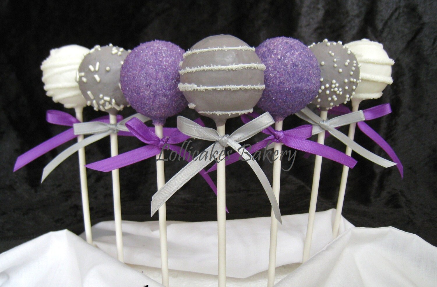 purple wedding cake pops