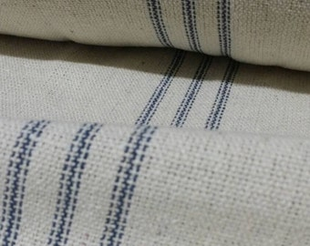 "Grain Sack Fabric - Farmhouse Fabric - Cream Fabric - Blue 9 Stripe - 54"" Wide - Upholstery Weight - CONTINUOUS CUT"