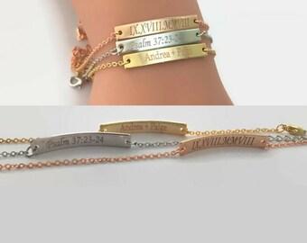 Personalized gift name bar bracelet custom initial bracelet gold bar bracelet bridesmaid gift Christmas gift girlfriend gift birthday gift